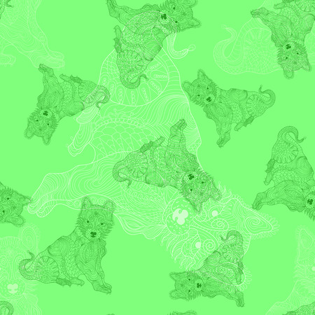 Dog, puppy doodle seamless pattern. Outline color texture.