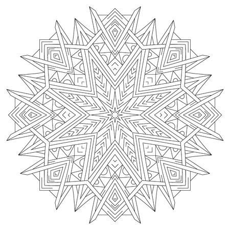 Flower circular mandala for coloring book page design.