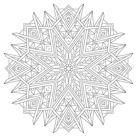 Flower circular mandala for coloring book page design.