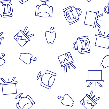 Blue and white illustration of a pattern of backpacks palettes and apples