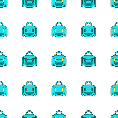 Backpack vector pattern. Seamless background illustration. Cute autumn outline cartoon texture, textile fabric, print. School bag back to school wrapping paper, book cover, clothes for kids, children Illustration