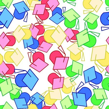 Set of colorful graduation caps  イラスト・ベクター素材