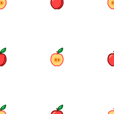 Apple seamless pattern. Autumn, summer vintage design icon. Vector fruit illustration. Green background. Hand drawn cute apples with cut sliced core for textile, manufacturing, fabrics and decor Banque d'images - 123506825