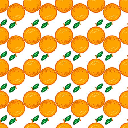 Orange seamless pattern. Autumn, summer, spring vintage design icon. Vector fruit illustration. Hand drawn cute oranges with cut sliced core for textile, manufacturing, fabrics and decor Stock Illustratie