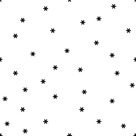 Vector seamless pattern with geometric snowflakes.