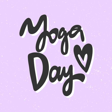 Yoga day. Sticker for social media content. Vector hand drawn illustration design. 向量圖像