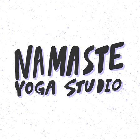 Namaste yoga studio. Sticker for social media content. Vector hand drawn illustration design.