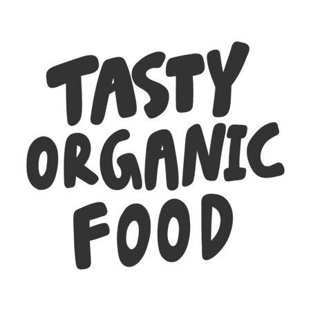 Tasty organic food. Green eco bio sticker for social media content. Vector hand drawn illustration design. 向量圖像