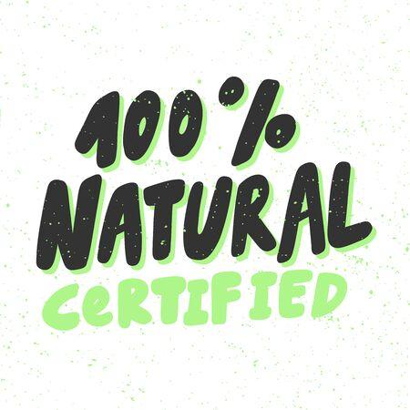 Green eco bio sticker for social media content. Vector hand drawn illustration design.