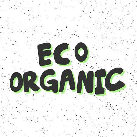 Eco organic. Green eco bio sticker for social media content. Vector hand drawn illustration design. 向量圖像