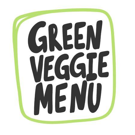 Green veggie menu. Eco bio sticker for social media content. Vector hand drawn illustration design.