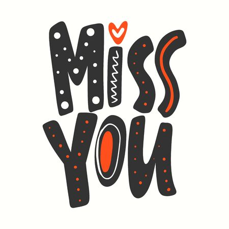 Miss you. Valentines day Sticker for social media content. Vector hand drawn illustration design. Иллюстрация