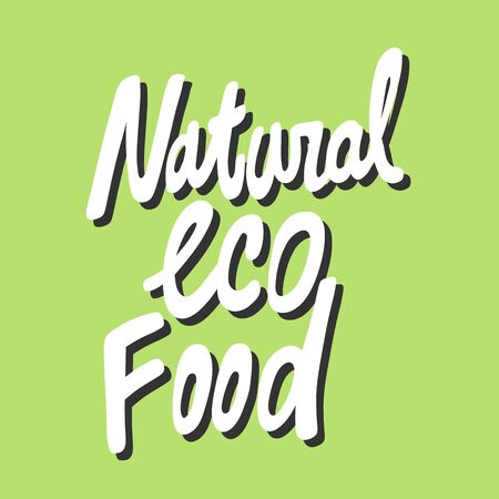 Natural eco food. Green eco bio sticker for social media content. Vector hand drawn illustration design. Çizim