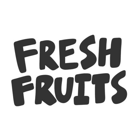Fresh fruits. Green eco bio sticker for social media content. Vector hand drawn illustration design.