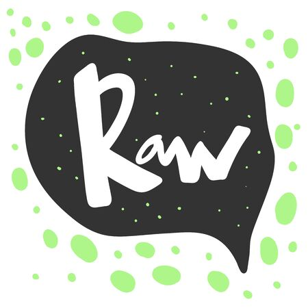 Raw. Green eco bio sticker for social media content. Vector hand drawn illustration design. Çizim