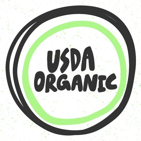 Usda Organic. Green eco bio sticker for social media content. Vector hand drawn illustration design. Çizim