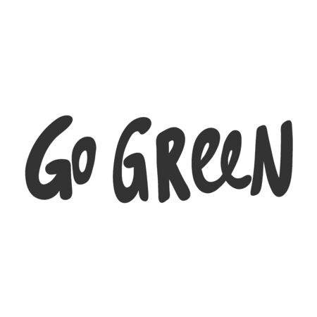Go Green, eco bio sticker for social media content. Vector hand drawn illustration design. Çizim