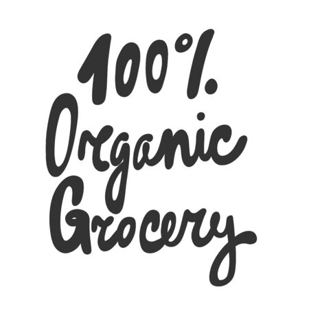 100 organic grocery. Green eco bio sticker for social media content. Vector hand drawn illustration design.