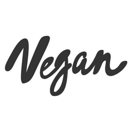Vegan. Green eco bio sticker for social media content. Vector hand drawn illustration design.