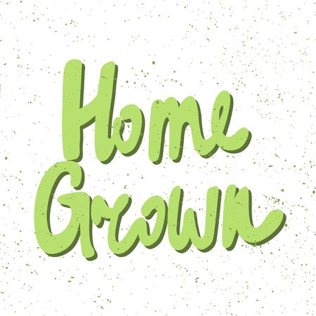 Home grown. Green eco bio sticker for social media content. Vector hand drawn illustration design. Çizim