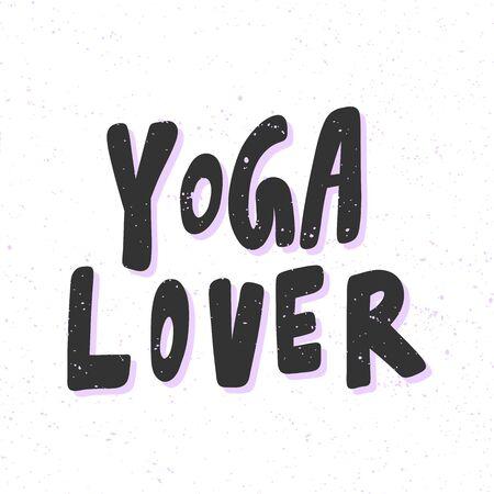 Yoga lover. Sticker for social media content. Vector hand drawn illustration design.