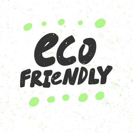 Eco friendly. Green eco bio sticker for social media content. Vector hand drawn illustration design.