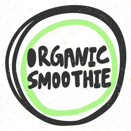Organic smoothie. Green eco bio sticker for social media content. Vector hand drawn illustration design.