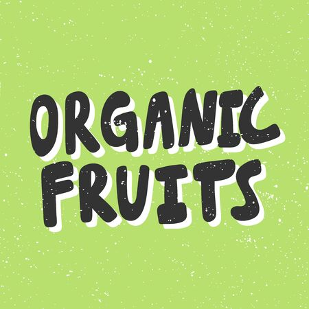 Organic fruits. Green eco bio sticker for social media content. Vector hand drawn illustration design.