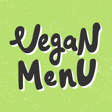 Vegan menu. Green eco bio sticker for social media content. Vector hand drawn illustration design. Çizim