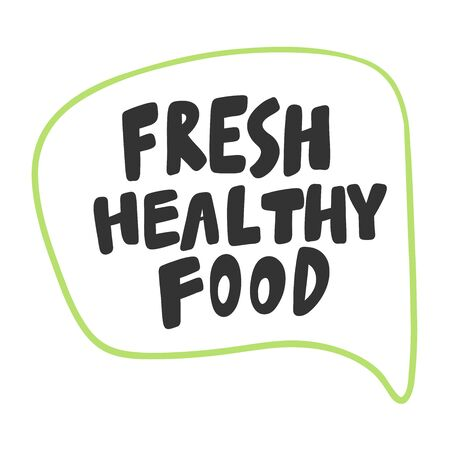 Fresh healthy food. Green eco bio sticker for social media content. Vector hand drawn illustration design.