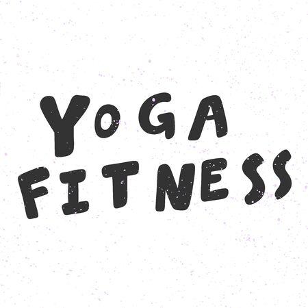 Yoga fitness. Sticker for social media content. Vector hand drawn illustration design. 向量圖像