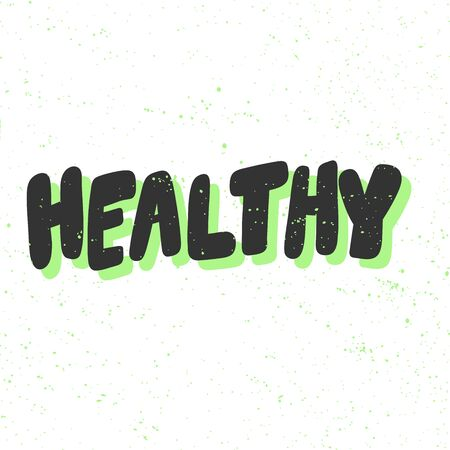 Healthy. Green eco bio sticker for social media content. Vector hand drawn illustration design.