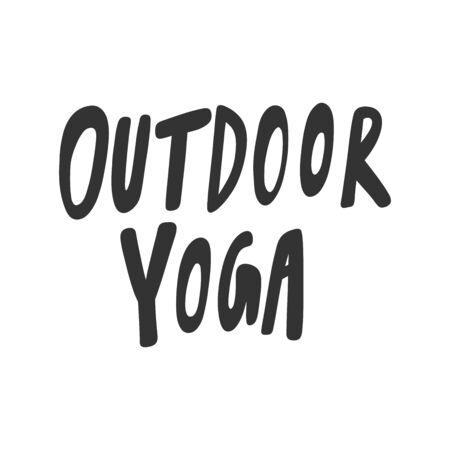 Outdoor yoga. Sticker for social media content. Vector hand drawn illustration design.