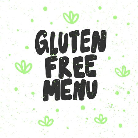 Gluten free menu. Green eco bio sticker for social media content. Vector hand drawn illustration design.