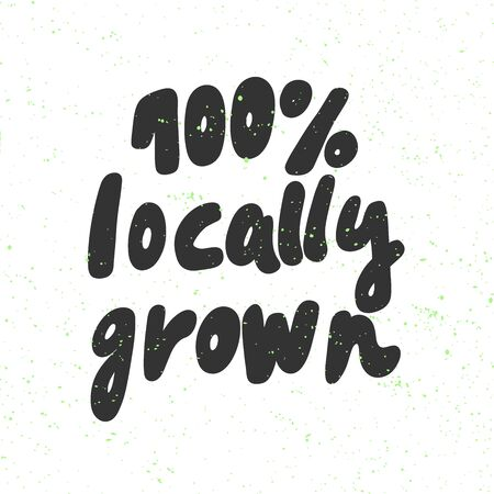 100 locally grown. Green eco bio sticker for social media content. Vector hand drawn illustration design. Çizim