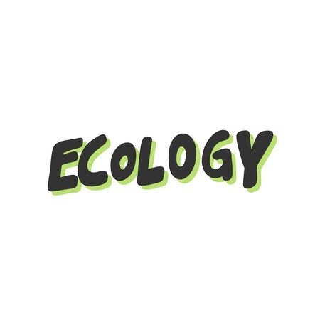 Green eco bio sticker for social media content. Vector hand drawn illustration design.