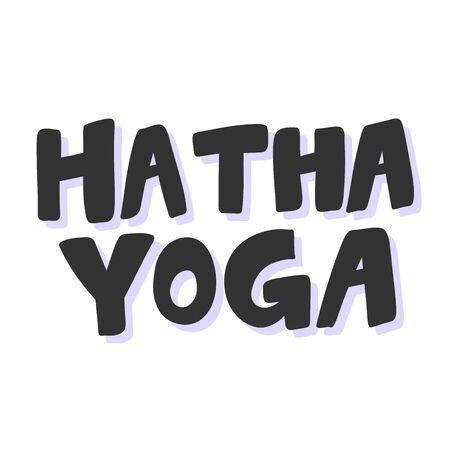 Hatha yoga. Sticker for social media content. Vector hand drawn illustration design. 向量圖像