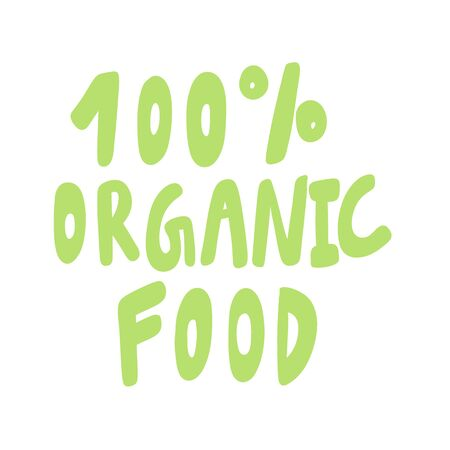 100 Organic food. Green eco bio sticker for social media content. Vector hand drawn illustration design. Çizim