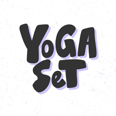 Yoga set. Sticker for social media content. Vector hand drawn illustration design.