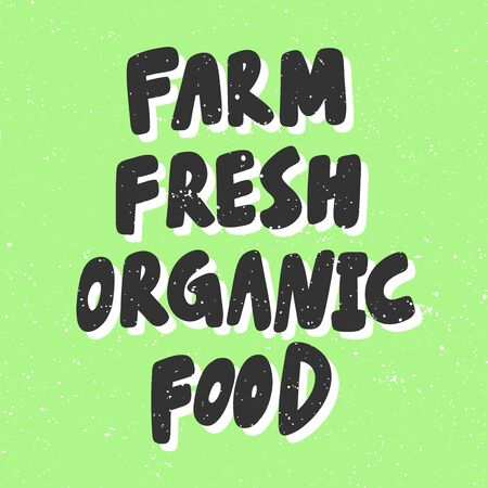 Farm fresh organic food. Green eco bio sticker for social media content. Vector hand drawn illustration design.