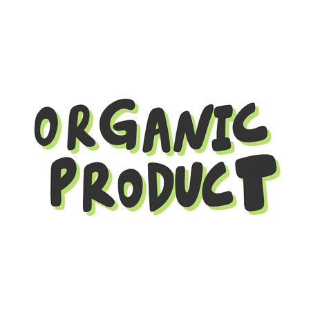 Organic product. Green eco bio sticker for social media content. Vector hand drawn illustration design.