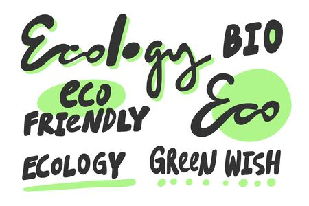 Green eco eat vegan organic bio sticker collection for social media content. Vector hand drawn illustration design.