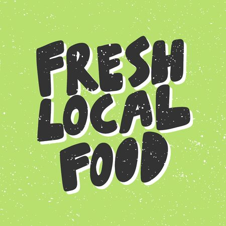 Fresh local food. Green eco bio sticker for social media content. Vector hand drawn illustration design. Çizim
