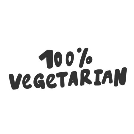 100 vegetarian. Green eco bio sticker for social media content. Vector hand drawn illustration design.