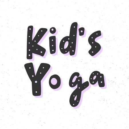 yoga for kids. Sticker for social media content. Vector hand drawn illustration design.