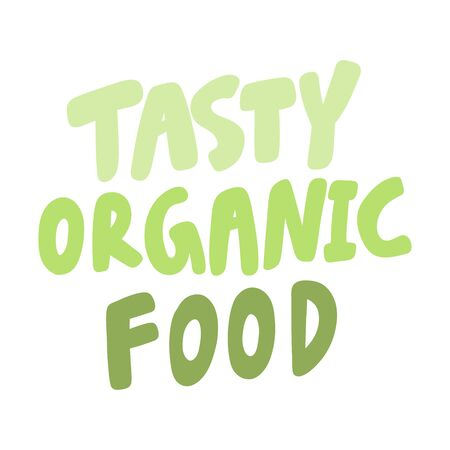 Tasty organic food. Green eco bio sticker for social media content. Vector hand drawn illustration design. Çizim
