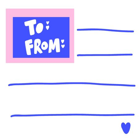 To from. Valentines day Sticker for social media content. Vector hand drawn illustration design. 일러스트