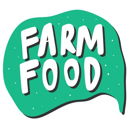 Farm food. Green eco bio sticker for social media content. Vector hand drawn illustration design.