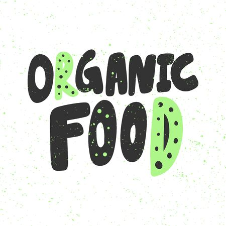 Organic food. Green eco bio sticker for social media content. Vector hand drawn illustration design.