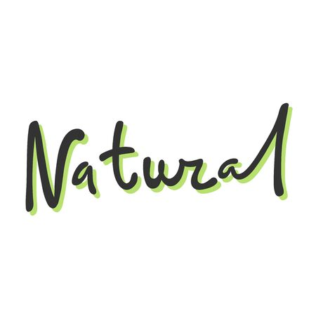 Natural. Green eco bio sticker for social media content. Vector hand drawn illustration design.